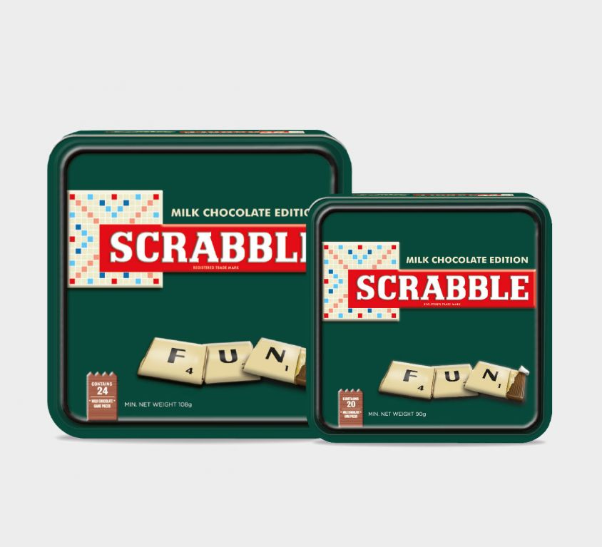 Scrabble® chocolate game in luxury tin can